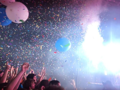 The front row of the Flaming Lips audience can hardly contain their excitement as confetti and balloons burst from the FedEx Stage at the Flaming Lips show on Friday, May 1.