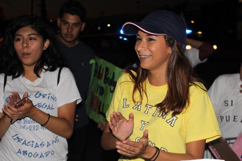 Pamela Arcega participating in the deportation protest.