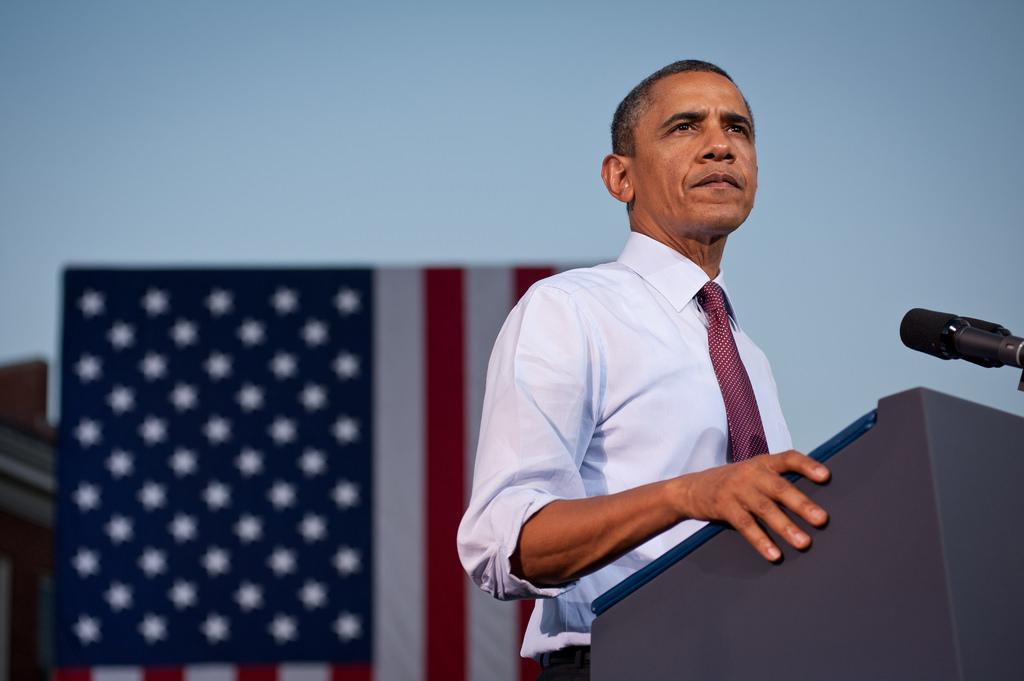Barack Obama giving a campaign speech on Aug. 2, 2012 in Virginia.