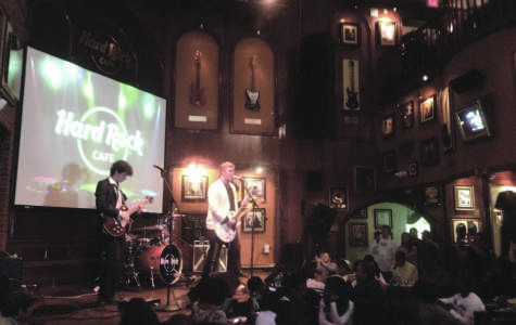 """Roman Darker (11) and Joey Graham (Christian Brothers High School) play their original song """"Oh, Brother"""" at the Hard Rock Café with their band, Jimmy Shindig and the Windchimes."""