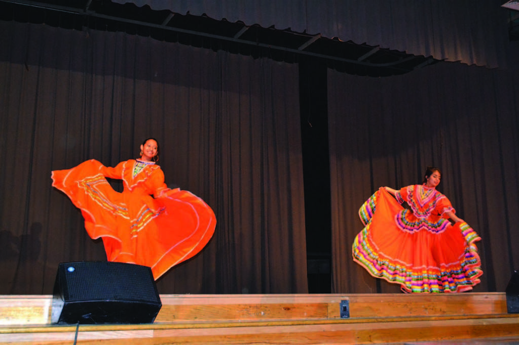 Seniors+Tania+Munoz+and+Lucero+Soto+entered+the+Talent+Show+to+promote+their+heritage.+The+two+exhibited+a+folkloric+dance+of+Mexico