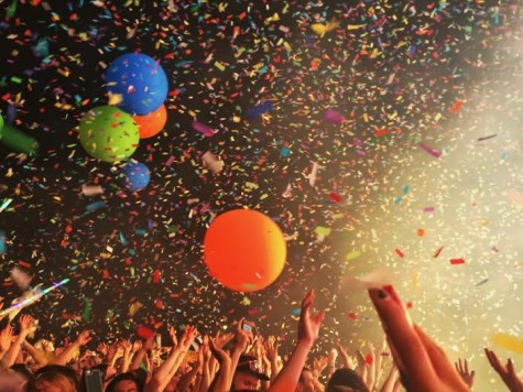 Explosions of confetti and giant balloons at the Flaming Lips show on Friday, May 1.