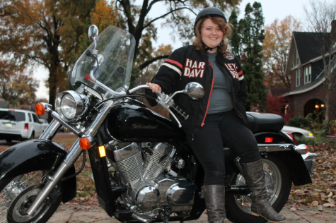 Sydney Shelby on her motorcycle