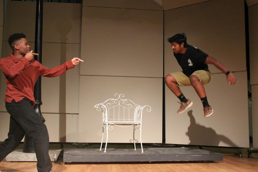 """Justin Hill (11) and Om Pednekar (11) on the set of """"Diatom,"""" one of the one-acts."""