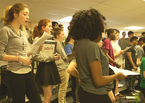 Chorale practices a song for the album.