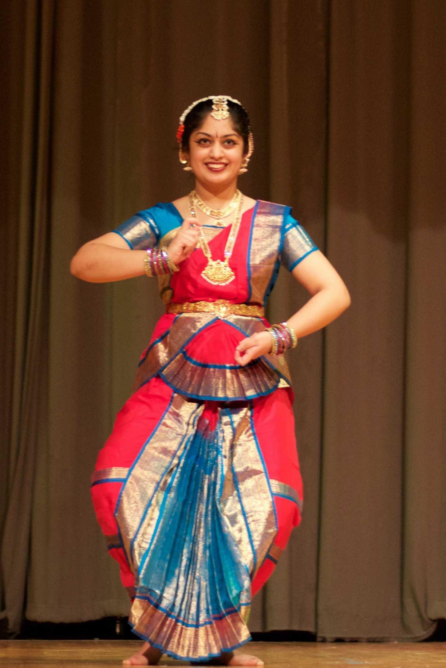 Niharika Tayade (11) dancing Bharatanatyam, an Indian classical dance.