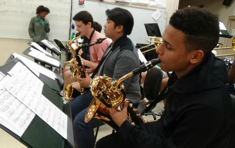 "Jazz Band prepares for the April 21 All-City WTSBOA Jazz Festival with the song ""Black Coffee."""