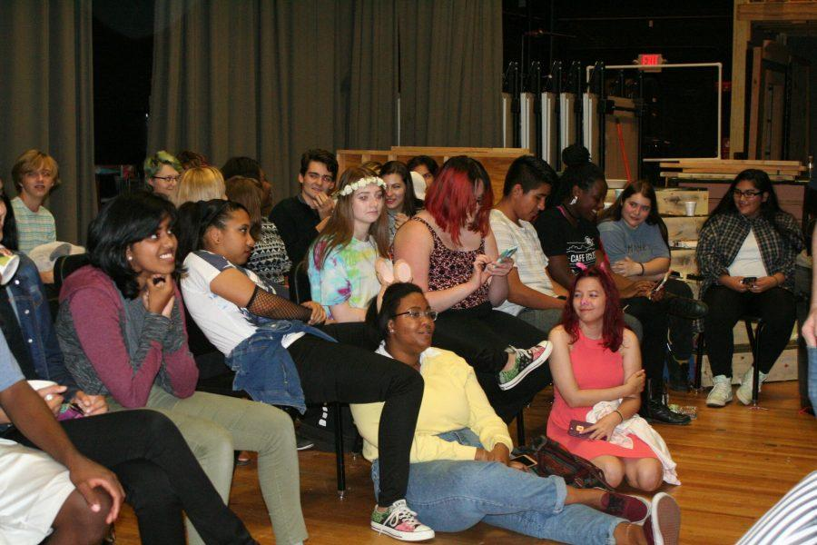 Students enjoying the entertainment at the coffeehouse