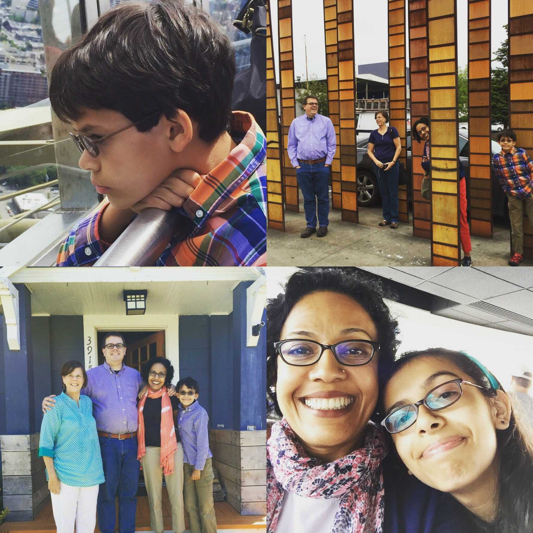 Maya Saxe (10) with her family