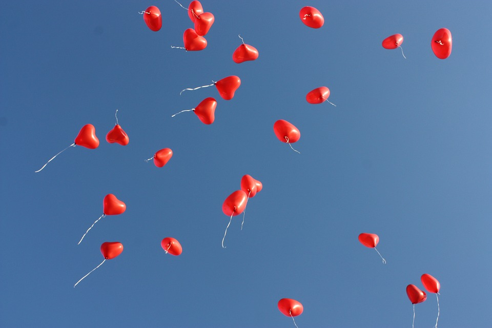 Heart balloons in the air to celebrate Valentine's Day