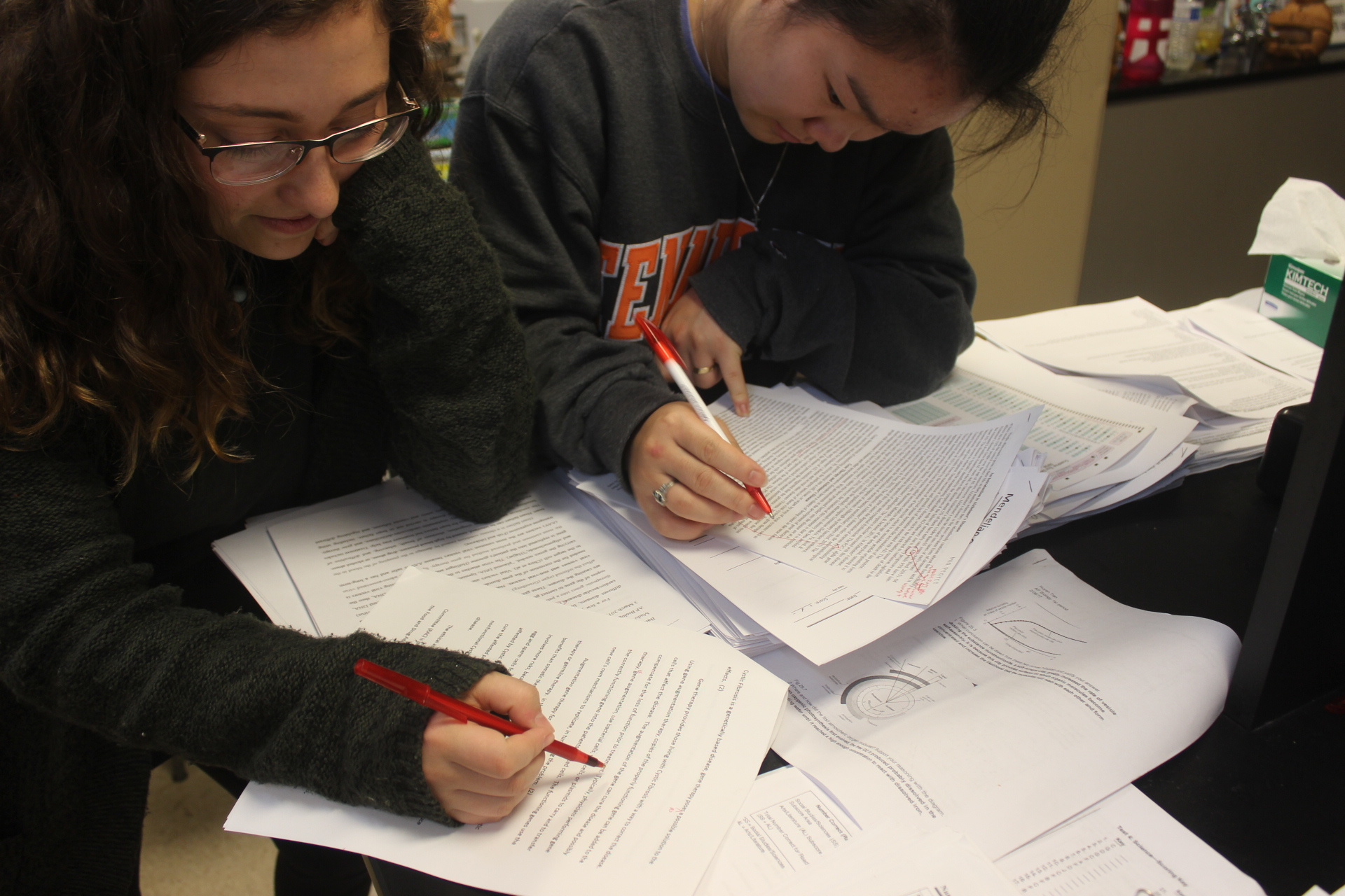 Kirsten Todd (12) and Shannon Donlon (12) proofreading papers.