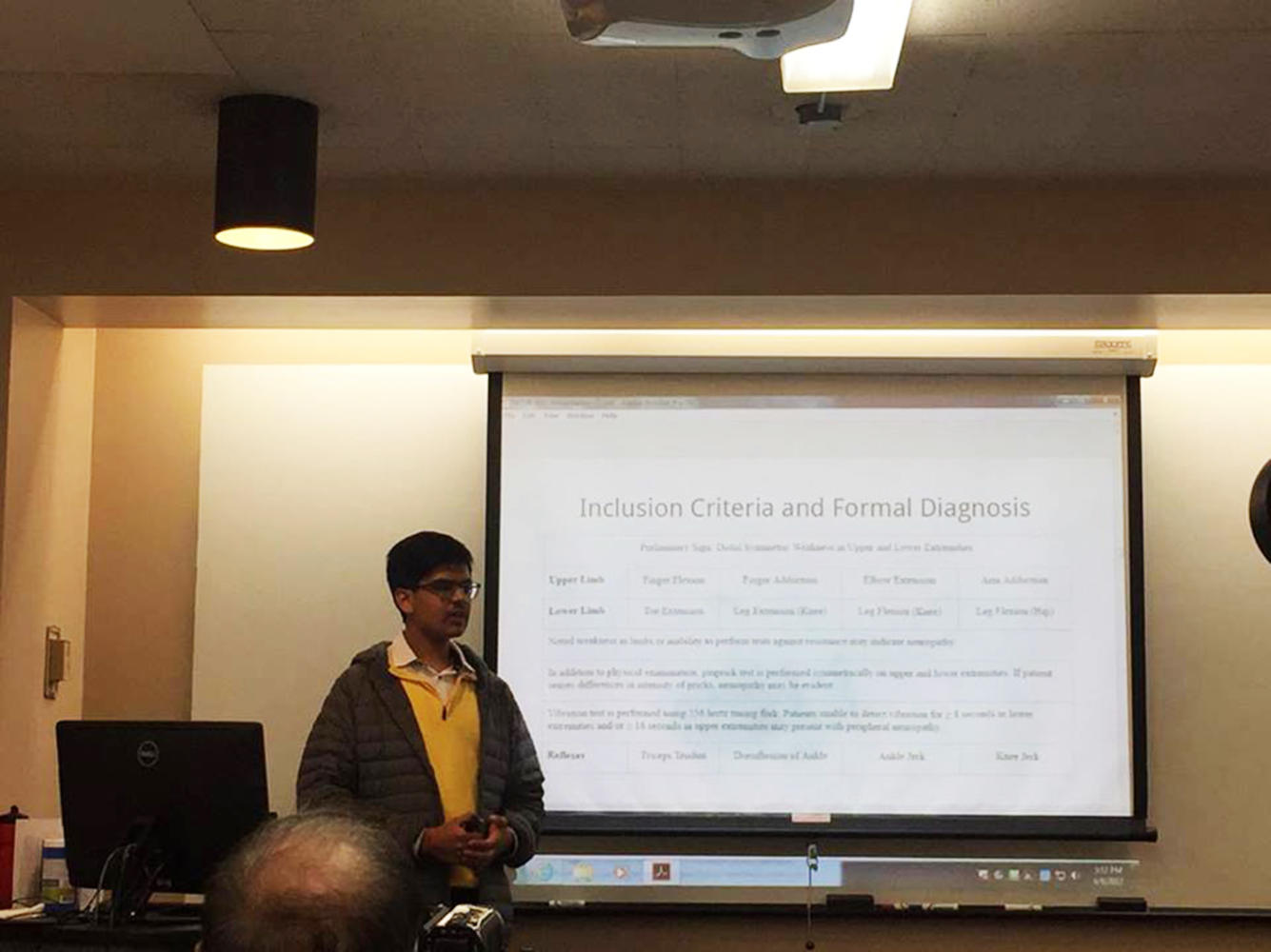 Anup Challa (12) presents his research on orthostatic hypotension at NCUR.