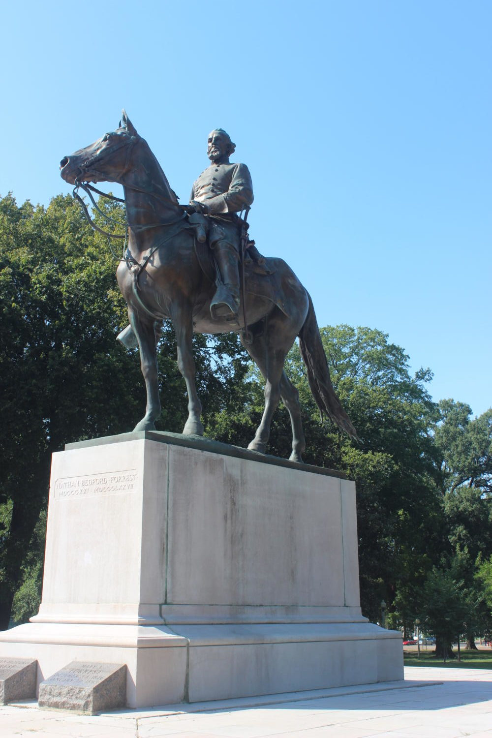 Nathan Bedford Forrest statue in the Health and Sciences Park.