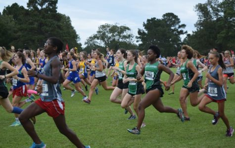 The Cross Country Girls Team begin their race at the Watson-Ford Invitational where they placed second overall.