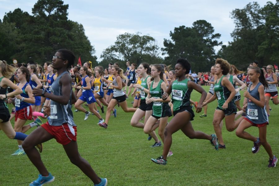 The+Cross+Country+Girls+Team+begin+their+race+at+the+Watson-Ford+Invitational+where+they+placed+second+overall.
