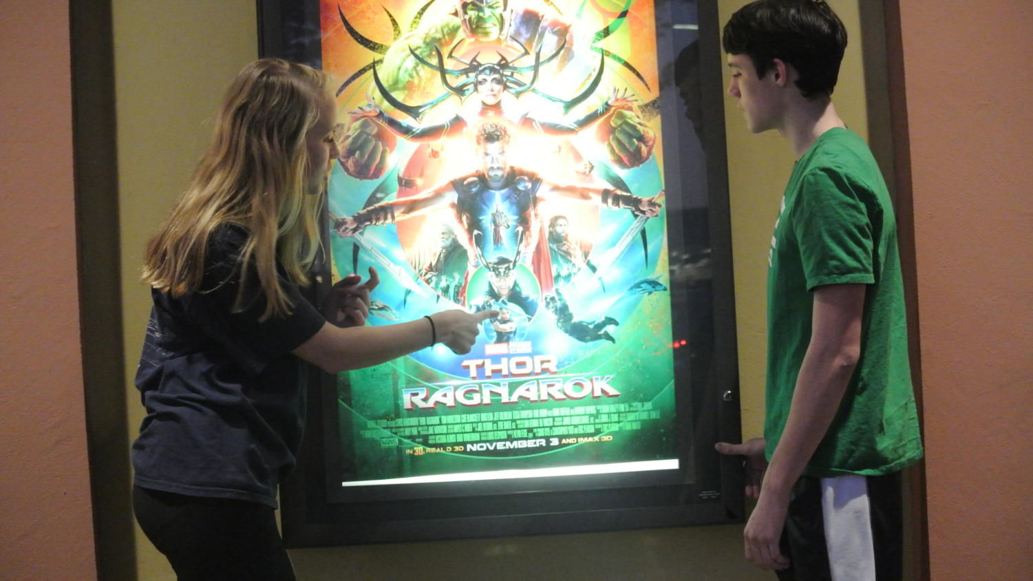 "Hayden Thornton (10) and Gabriel Geiser (10) chat about ""Thor:Ragnarok"" at Malco Paradiso."