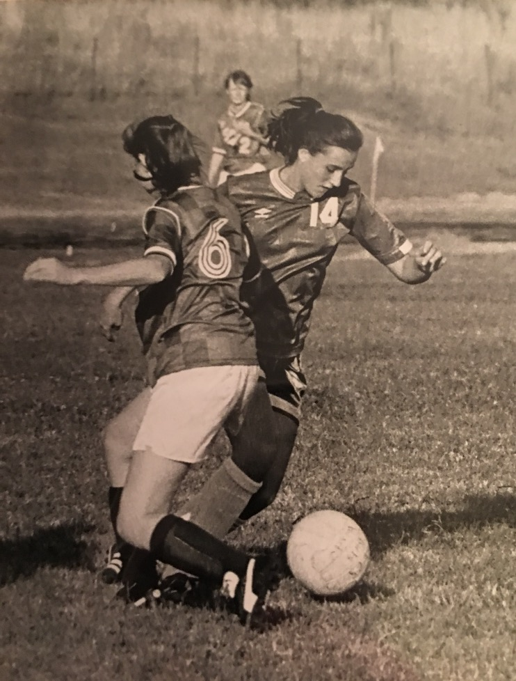 #14 on the WSHS girls soccer team, Shelby Rose plays against ECS in 1992, fall of her senior year.