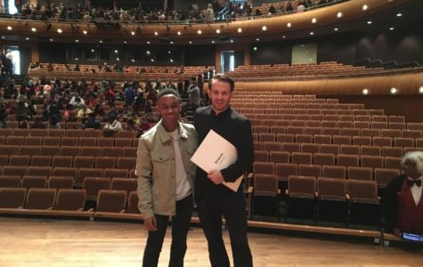 Adam Brooks with Dr. Crust, one of the conductors for the Memphis Symphony Orchestra