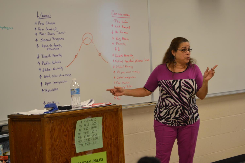 Mrs. Sugarmon teachers her U.S Government class.