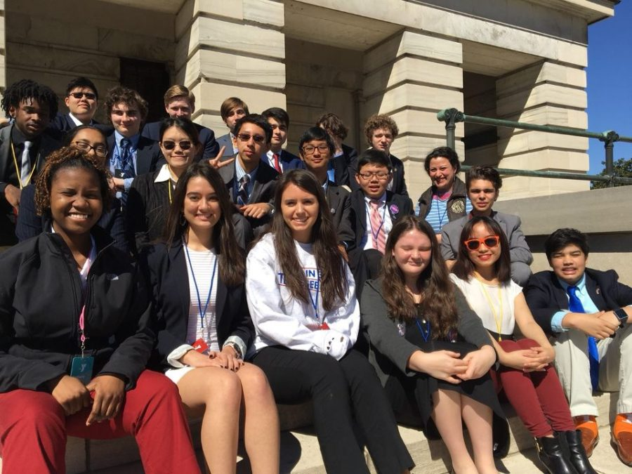 White Station YIG delegation poses for a picture on the steps of the Tennessee State Capitol Building.