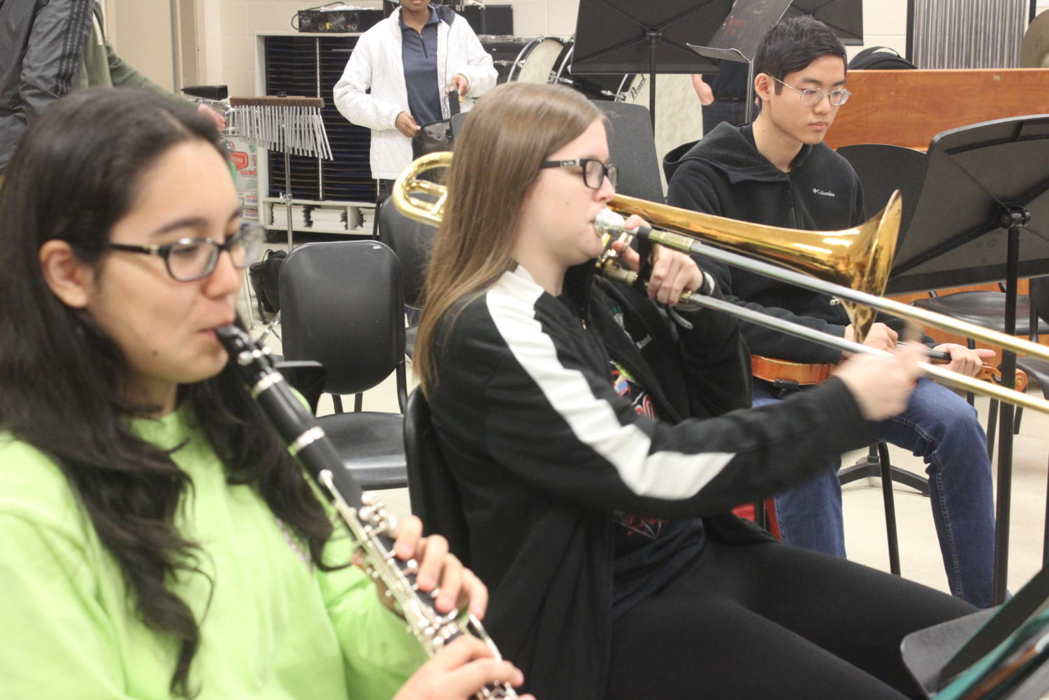Band students practice for upcoming events.