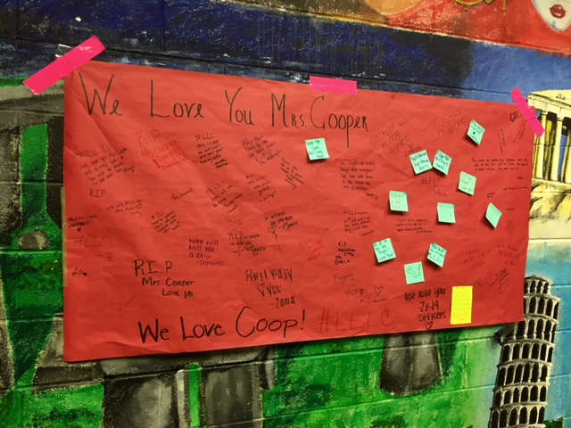In one of the stair landings hangs a growing memorial for Linda Cooper who passed away Sunday, Sept. 2, 2018. Notes from students and teachers alike form this tribute to the former Teen Living teacher.