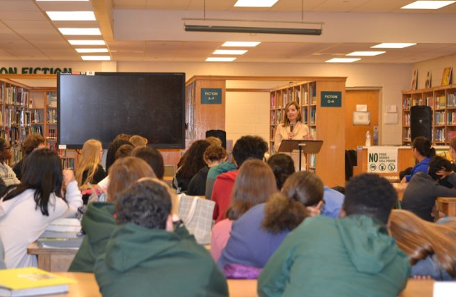 9th grade English students attended a presentation by author Molly Caldwell Crosby on Thursday.