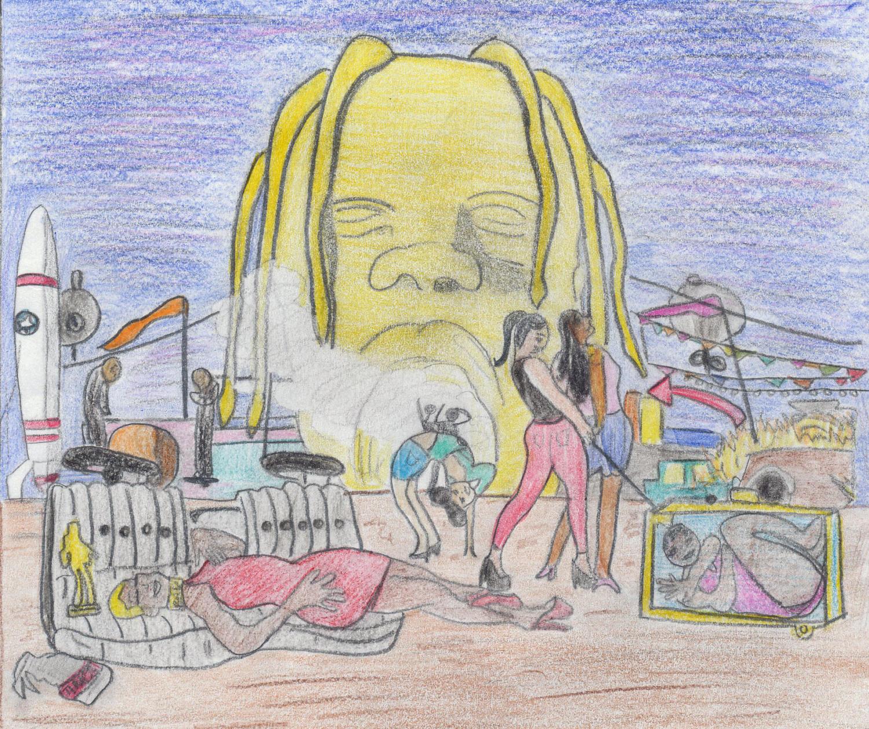 """A depiction of Travis Scott's """"Astroworld,"""" originally hand-drawn by Hayden Thornton (11)."""