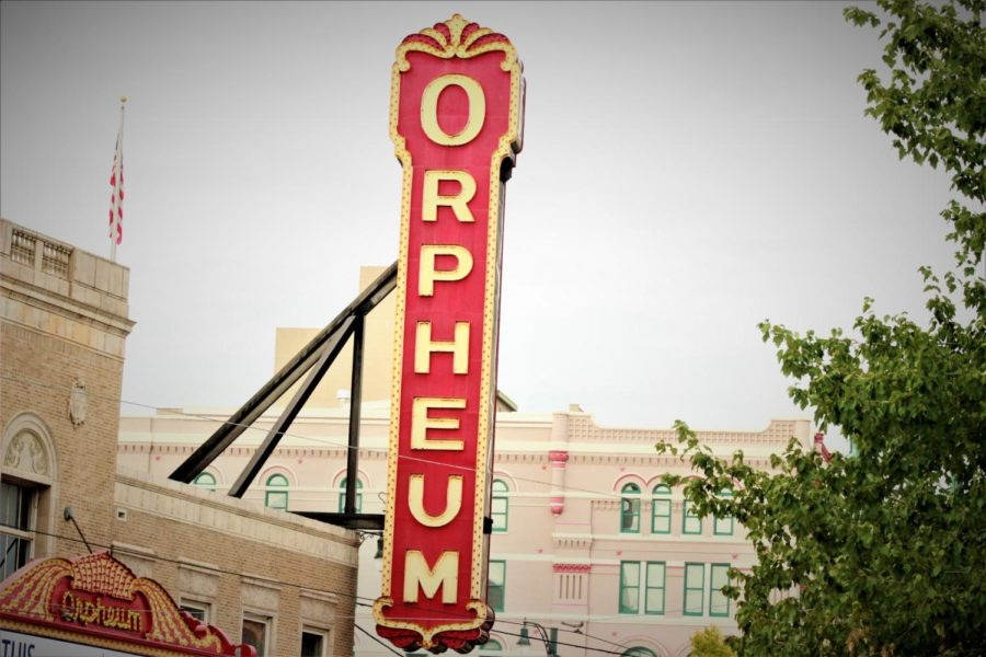 Part of the Orpheum Theatre's marquee hangs against a partly cloudy October sky. The theatre, which was rebuilt in 1928, still remains host to a number of touring Broadway shows and other performing arts opportunities every year.