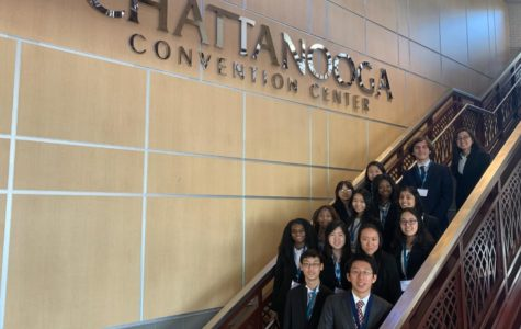 The HOSA club stands in the staircase at the Chattanooga Convention Center. This was their first time going to state and they won several awards.