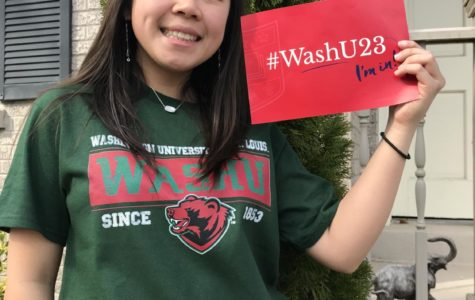 Tina Nguyen (12) commits to Washington University at St. Louis after receiving her acceptance letter. Nguyen is a QuestBridge scholar, which grants her a full scholarship for WashU.