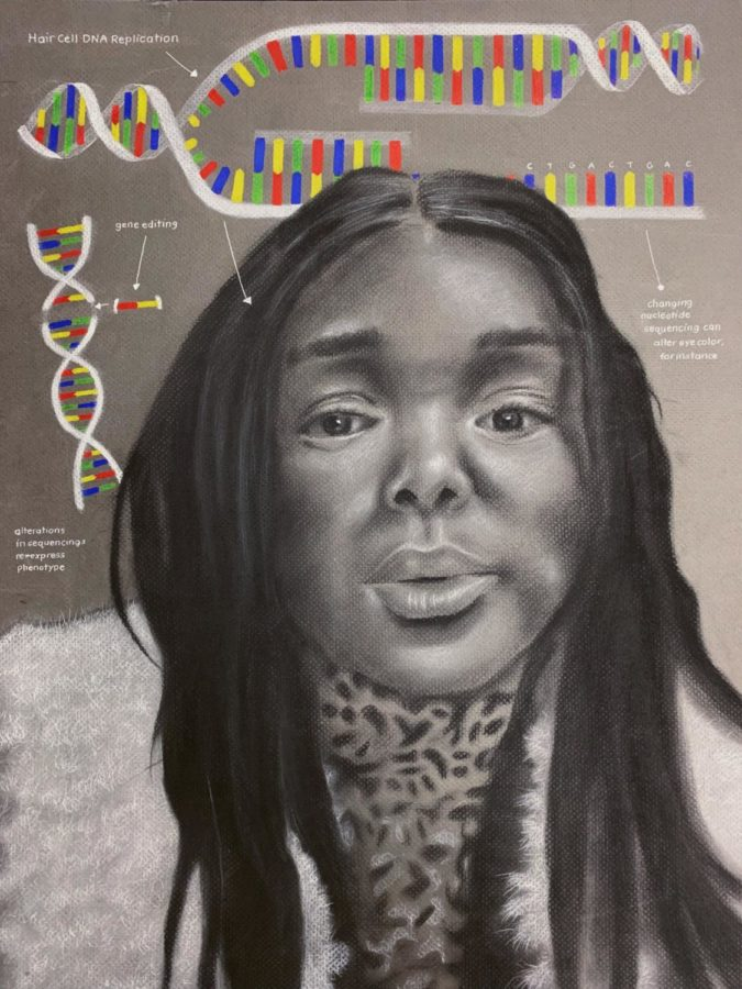 Shridhar Athinarayanan's (12) piece of Allyson Smith combines art with science. The portrait shows what a well-rounded and unique student Athinarayanan really is.