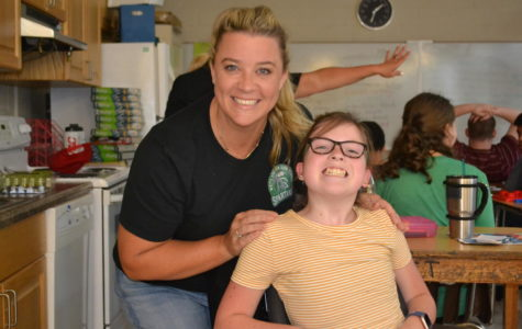 Tracy Stone and Annabelle Hulgan (9) in their classroom on the second floor of the main building.