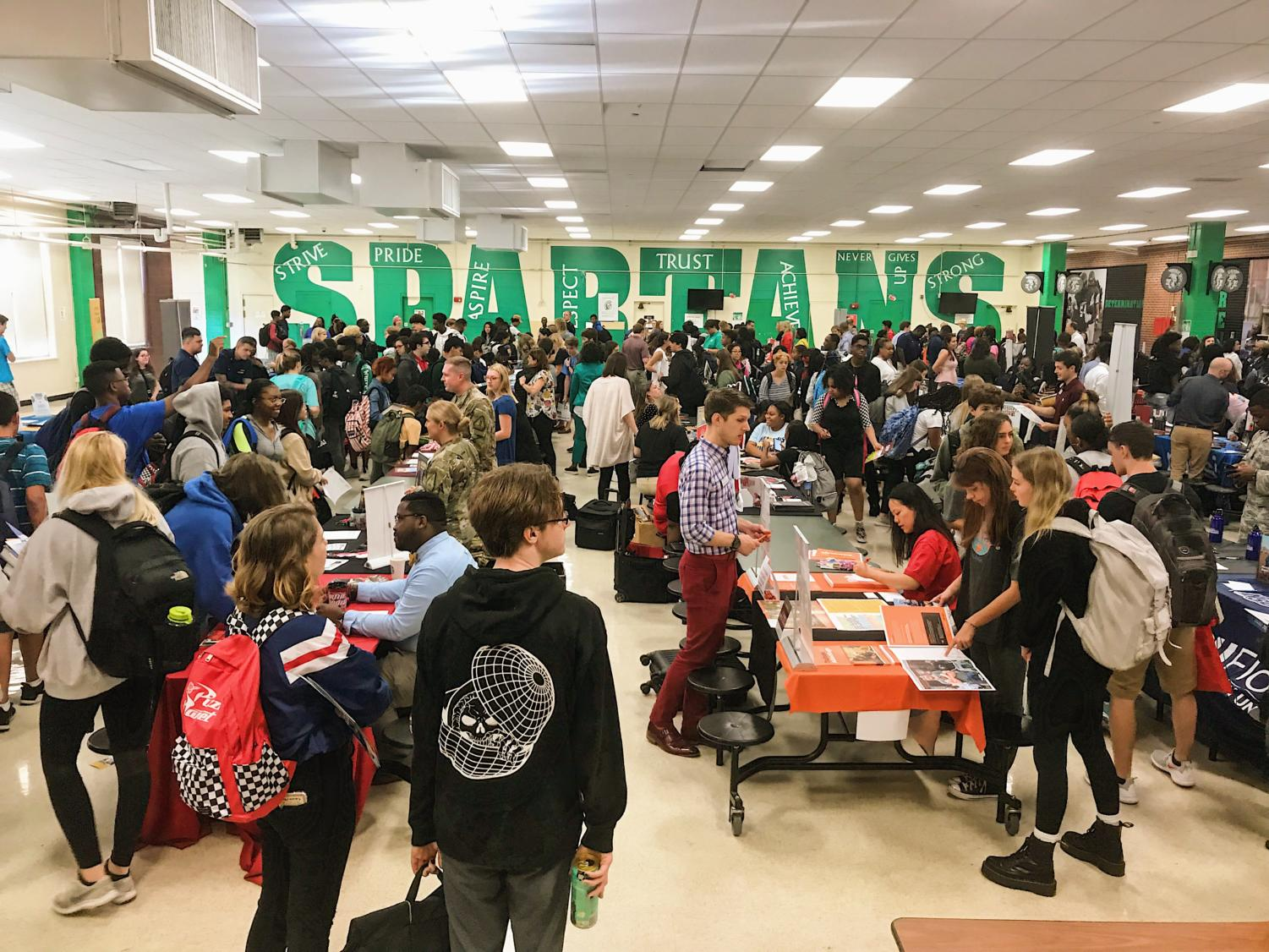 At the college fair, students were able to put a face to their admissions counselors and gain a better sense of the types of schools they want to apply to. Although juniors will apply their senior year, they still benefit from the experience.
