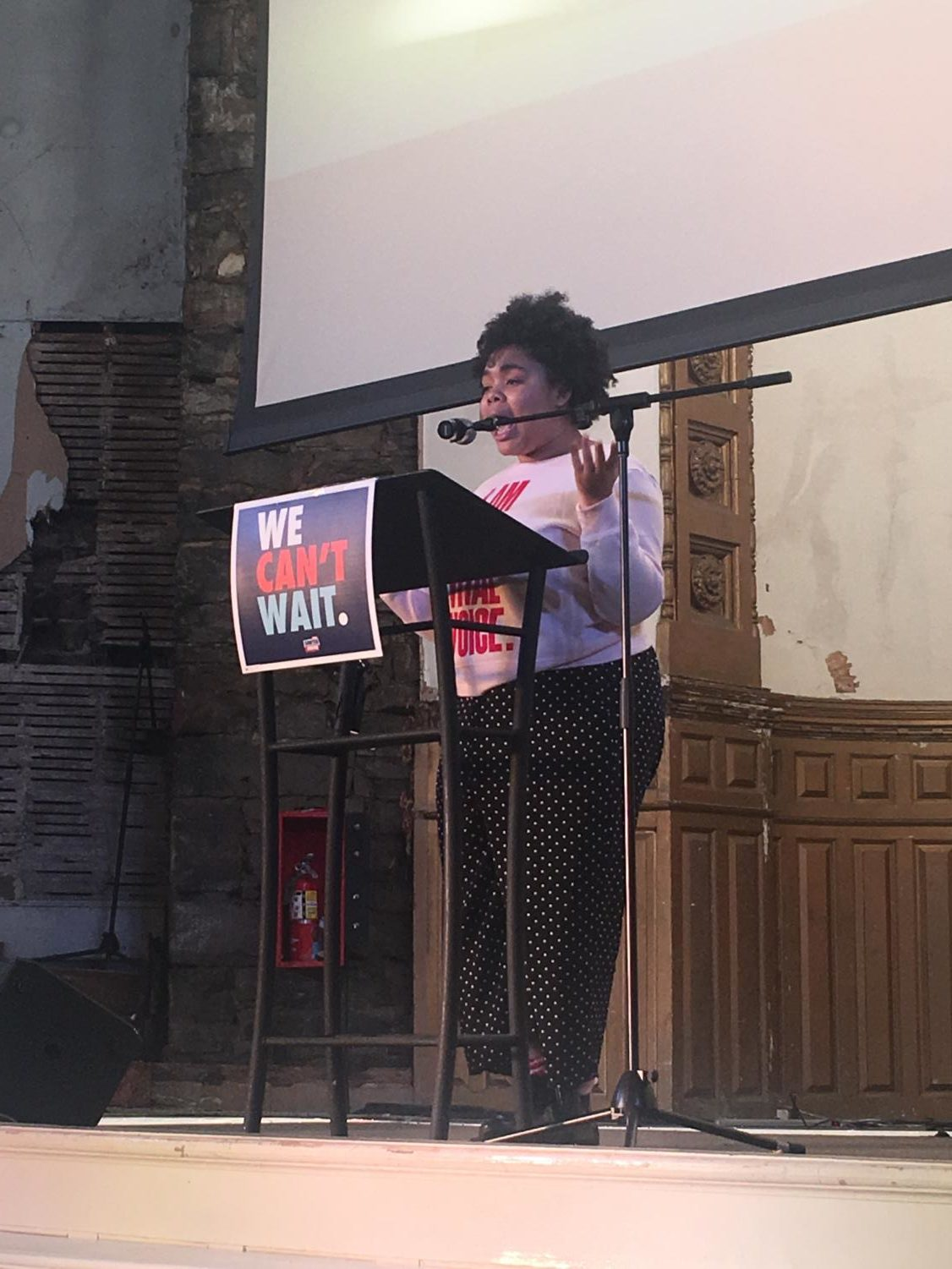 "Allyson Smith (12) performs her speech, ""My Identity in a Town That Don't Like Me No More,"" at the Tami Sawyer Rally."