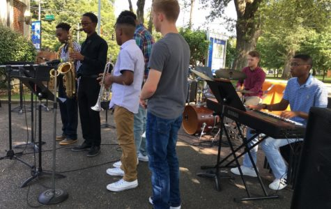 White Station jazz students showcase their talents on the corner of Patterson and Central at the University of Memphis. This was their first out-of-school performance of the semester.
