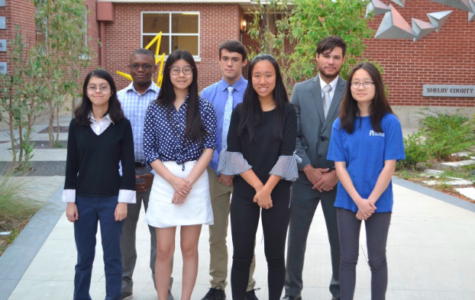 Seven Commended Students pose for a picture in the school courtyard. Front Row: Michelle Barnes (12), Ava Wang (12), Jie Wang (12), Sarah Shen (12) Back Row: Mason Pruitte (12), Gabriel Geiser (12), Kai Estes-Lumpkin (12) Not Pictured: Anming Gu (12)