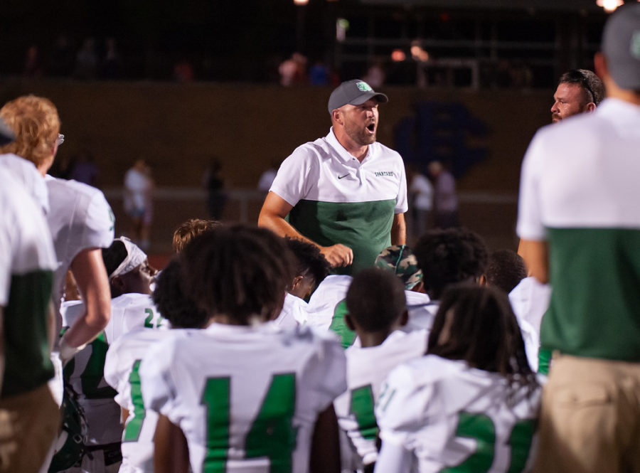 Coach Yarbrough speaks to the team after their win against Christian Brothers. The 13-7 win marked the third win for Yarbrough in his first season as head coach.
