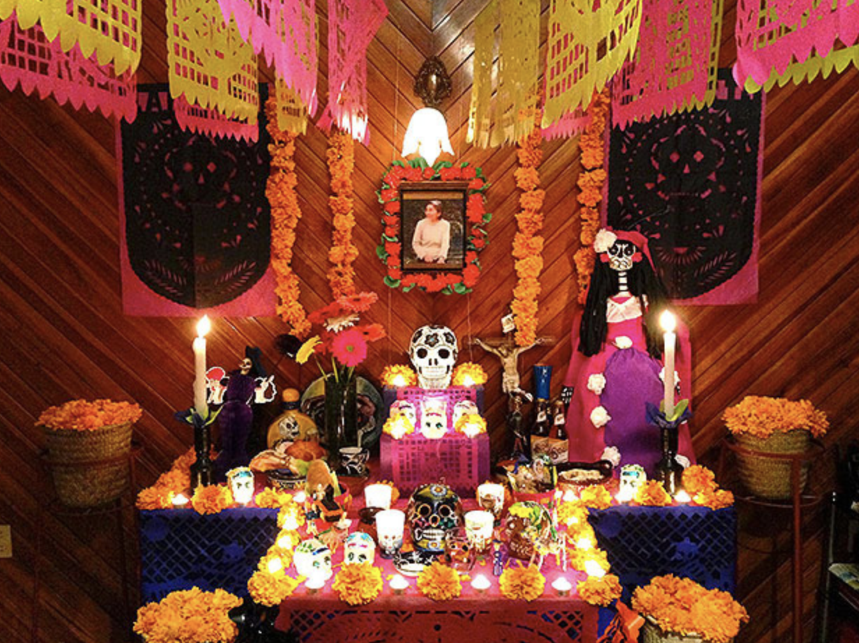 Ofrendas are offerings made to the dead by friends and family. A collection of items are placed on a ritualistic display to welcome the dead to join in celebration.
