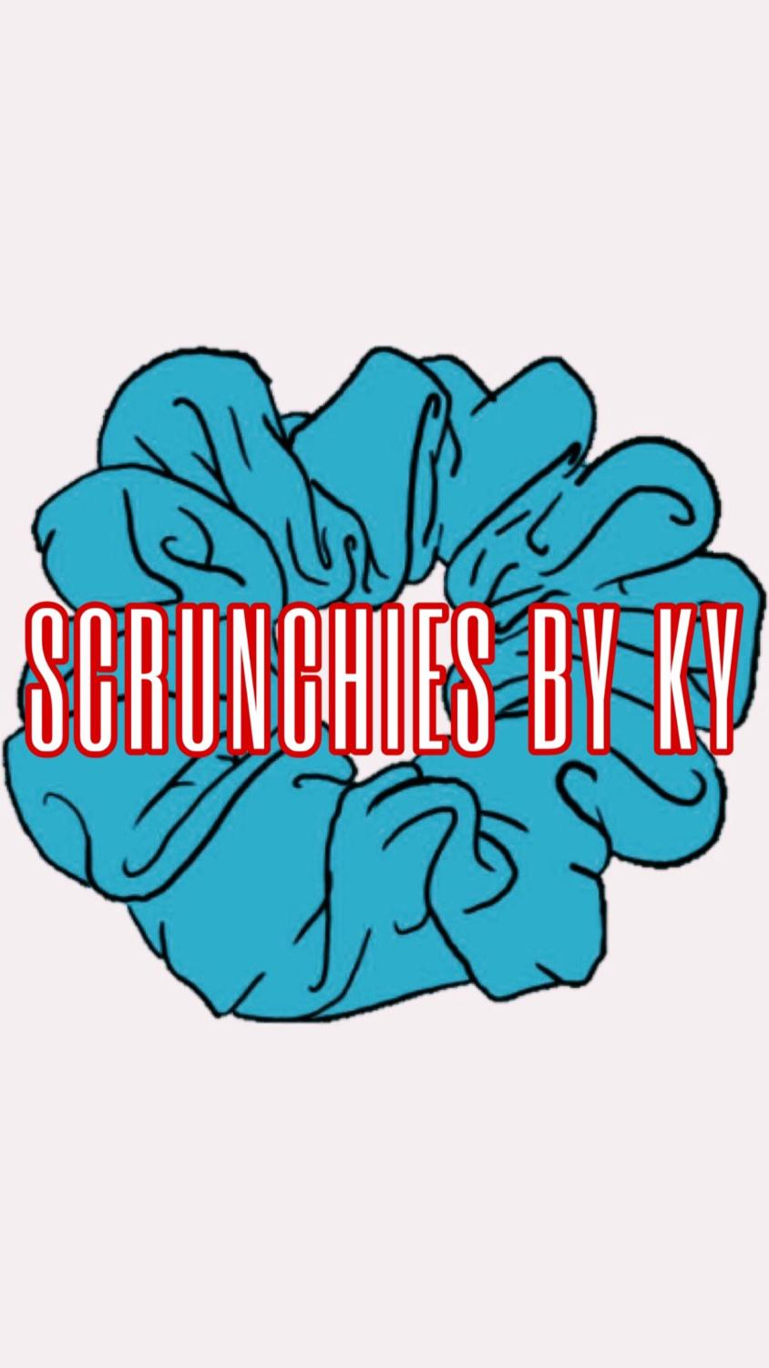 Kyah McKinney's (11) logo for her business: Scrunchies By Ky. McKinney sews scrunchies and sells them at a price of $1 for 3 and $2 for 5.