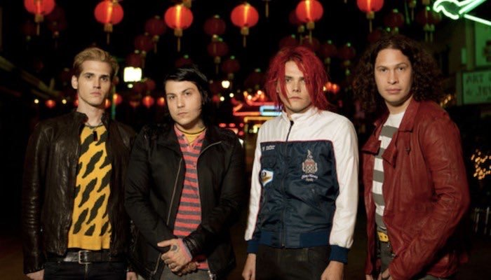 My Chemical Romance returns for a reunion concert. Pictured from left to right are Mikey Way(guitarist), Frank Iero(guitarist), Gerard Way(vocalist) and Ray Toro(bassist).