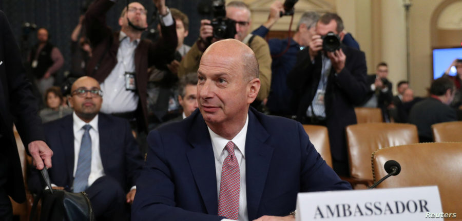 Ambassador+Gordon+Sondland+testified+in+Trump%27s+impeachment+hearing.+His+testimony+made+significant+progress+for+Democrats+because+of+his+affirmation+of+Trump%27s+dealings+with+Ukraine.