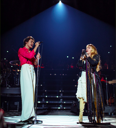 """Harry Styles performs alongside Stevie Nicks to celebrate the release of """"Fine Line"""" at The Forum in Los Angeles. During this special concert, Styles sang his entire album for the first time."""