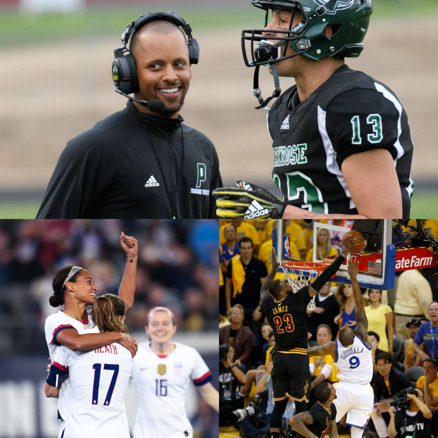 """Sports in the 2010s produced many memorable moments, ranging from exciting plays to heroic actions. Some of our picks for the best of the decade include Keanon Lowe (top), the US Women's national team (bottom left) and """"the Block"""" (bottom right)."""