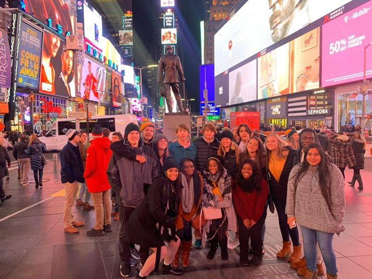 In Times Square, students posed in front of the city's hotspot. This was one of the many places they visited, including the Empire State building, ChinaTown, and other landmarks.