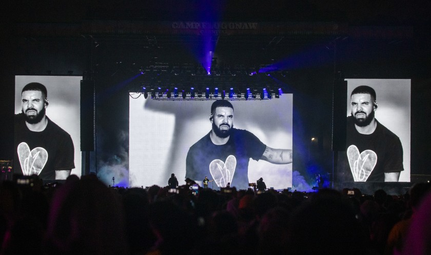 Drake reacts to boos while performing at Camp Flog Gnaw.