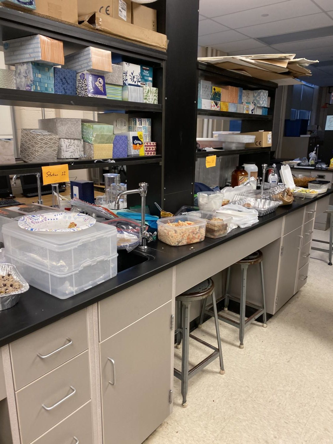 A wide array of food sits on the counter of the AP Chemistry stations during a Chemistry in the Kitchen on Nov. 21, 2019. The counters are topped with complex chemical compounds like any lab, although the products of the reactions are edible and delicious.