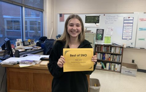 "Katie Lamm (10), a first-year staff member, was featured in Best of Sno for her article, ""Zoey Brewer and Her Movie-Making Uncle."""