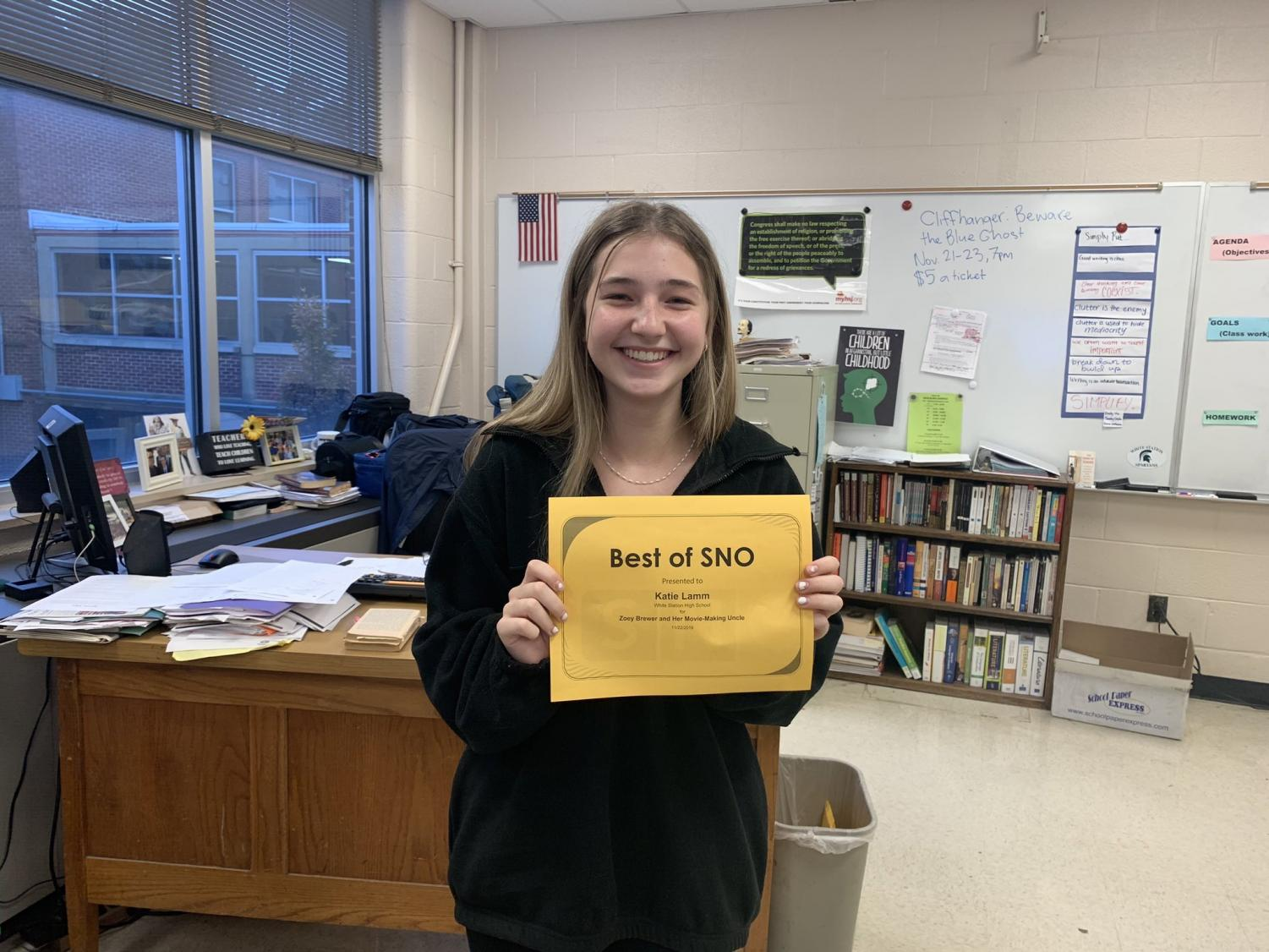 """Katie Lamm (10), a first-year staff member, was featured in Best of Sno for her article, """"Zoey Brewer and Her Movie-Making Uncle."""""""