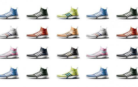 The picture shows some examples of previous shoes designed from the Cornell Shoe Design Competition.